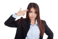 Young Asian businesswoman gesturing a headshot Stock Photos