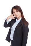 Young Asian businesswoman gesturing phone call Stock Photos