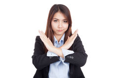 Young Asian businesswoman gesturing stop cross her arms Stock Photography