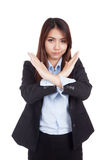 Young Asian businesswoman gesturing stop cross her arms Royalty Free Stock Photo