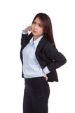 Young Asian businesswoman got back pain Stock Photo