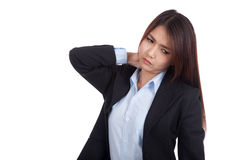Young Asian businesswoman got neck pain royalty free stock photo