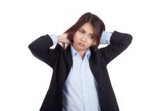 Young Asian businesswoman got neck pain Stock Photos