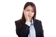 Young Asian businesswoman got toothache Stock Images