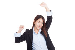 Young Asian businesswoman happy put her hands up Stock Photo