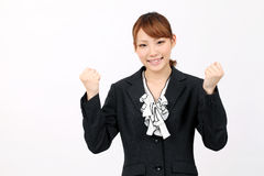Young asian businesswoman happy success Stock Photos