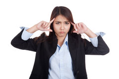 Young Asian businesswoman headache point to her head Stock Photos