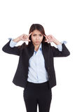 Young Asian businesswoman headache point to her head Royalty Free Stock Photo