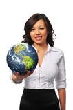Young asian businesswoman holding the earth. Isolated on white royalty free stock image