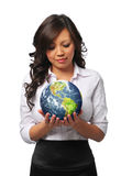 Young asian businesswoman holding the earth Stock Photography