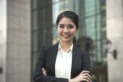 Young asian businesswoman leader handsome looking for something.  stock photo