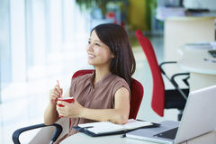 Young asian businesswoman in the office. Young asian woman looking out of the window in the office smile Stock Images