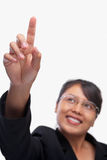 Young Asian businesswoman pointing her finger Royalty Free Stock Photo