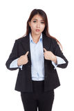 Young Asian businesswoman  pointing questioningly at herself Royalty Free Stock Photo