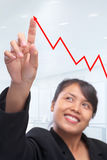Young Asian businesswoman pointing to graph Royalty Free Stock Photo