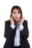 Young Asian businesswoman shocked Stock Photo