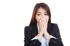Young Asian businesswoman shocked look away Stock Images