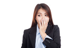 Young Asian businesswoman shocked look away Stock Photos