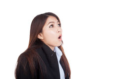 Young Asian businesswoman shocked and look up Stock Image