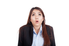 Young Asian businesswoman shocked and look up Royalty Free Stock Photography