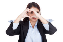 Young Asian businesswoman show heart hand sign Stock Images