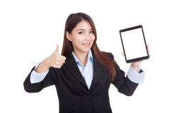 Young Asian businesswoman show ok with tablet pc Stock Images