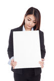 Young Asian businesswoman show vertical  blank sign Royalty Free Stock Images