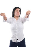 Young Asian Businesswoman Showing Two Thumbs Down Stock Images