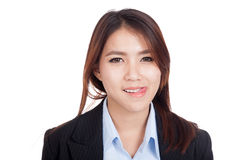 Young Asian businesswoman smile with her tongue out Stock Images