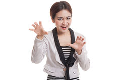 Young Asian businesswoman with spooky hands gesture. Stock Image
