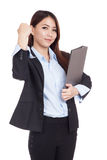 Young Asian businesswoman success with folder in hand Royalty Free Stock Photography