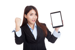 Young Asian businesswoman success show tablet pc Royalty Free Stock Photos