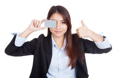 Young Asian businesswoman thumbs up show blank card Stock Photography