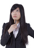 Young Asian businesswomen thinking Royalty Free Stock Photo
