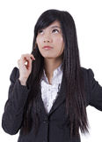 Young Asian businesswomen thinking Stock Photo