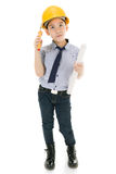 Young asian child construction engineer Holding equipment Royalty Free Stock Photos