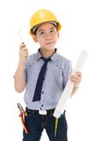 Young asian child construction engineer Holding equipment Stock Image