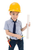 Young asian child construction engineer Holding equipment Royalty Free Stock Image