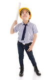 Young asian child construction engineer Holding equipment Stock Photo