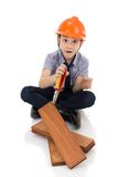 Young asian child construction engineer Holding equipment Stock Photos