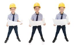 Young asian child construction engineer Holding equipment Royalty Free Stock Photography