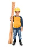 Young asian child construction Worker Holding equipment Royalty Free Stock Photo