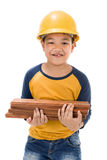 Young asian child construction Worker Holding equipment Royalty Free Stock Photography