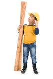 Young asian child construction Worker Holding equipment Royalty Free Stock Photos
