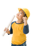 Young asian child construction Worker Holding equipment Stock Photo