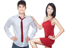 Young, asian, Chinese couple on romantic date. Young Chinese couple going for romantic date. Dressed smart casual in red and white Stock Photography