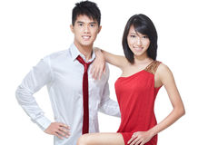 Young, asian, Chinese couple on romantic date. Young Chinese couple going for romantic date. Dressed smart casual in red and white Royalty Free Stock Photo