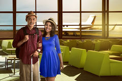 Young asian couple in the airport are happy Royalty Free Stock Image