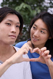 Young Asian couple forming a heart shape Stock Image