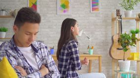 Young asian couple has a crisis in their relationship stock video footage